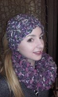 Head Band et snood violet..